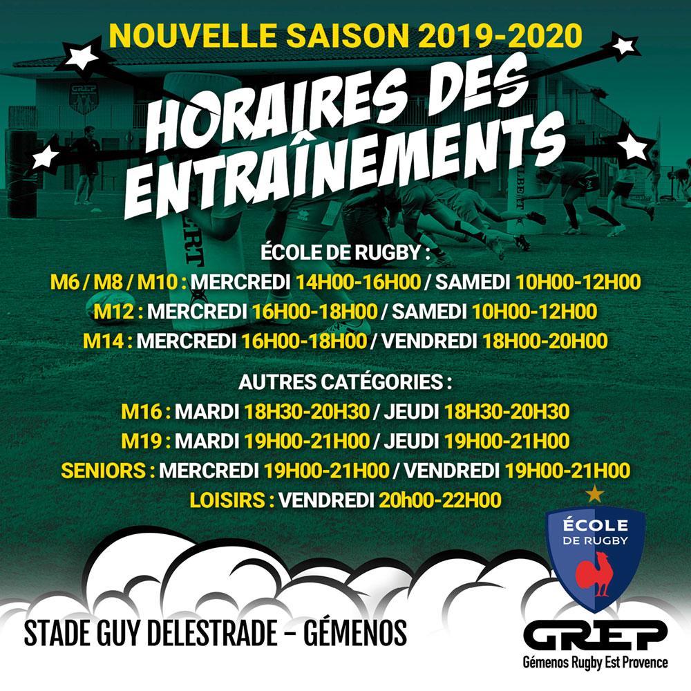 SAISON 2019 – 2020 : LES ENTRAÎNEMENTS !